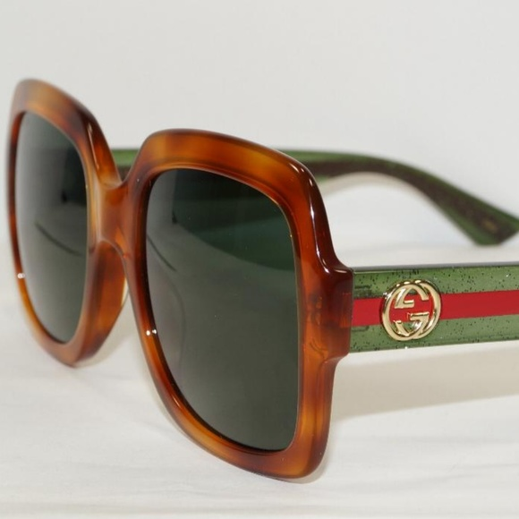 dfb21a03a95d Gucci Accessories | Square Havana Glitter Green Sunglasses | Poshmark